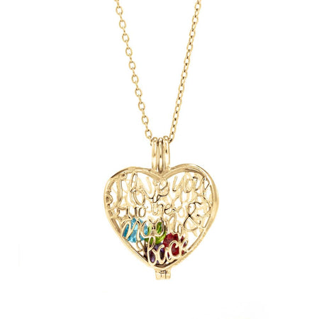 I Love You To The Moon and Back Birthstone Gold Locket