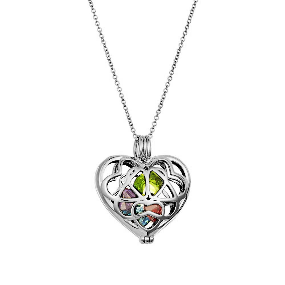 18-Inch Rhodium Plated Necklace with 6mm Zircon Birthstone Beads and Sterling Silver 4-Way Charm.