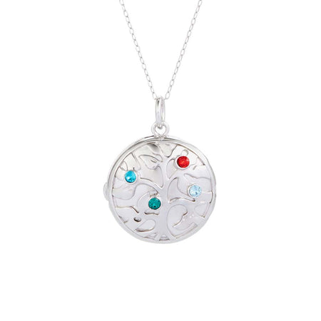 4 Birthstone Family Tree Silver Photo Locket Necklace