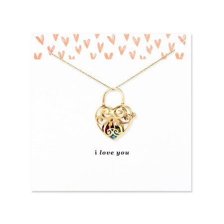 I Love You Floating Locket Gold Heart Necklace