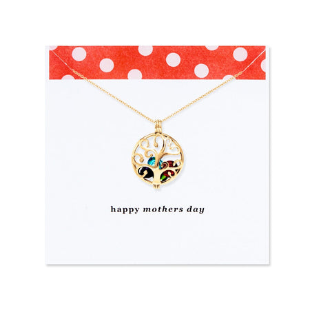 Mother's Day Family Tree Custom Birthstone Gold Locket