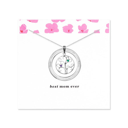 Personalized Best Mom 2 Birthstone Family Tree Necklace