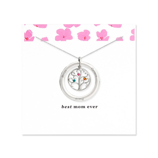 Best Mom 3 Birthstone Family Tree Necklace