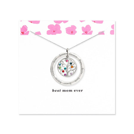 Best Mom 9 Birthstone Family Tree Necklace