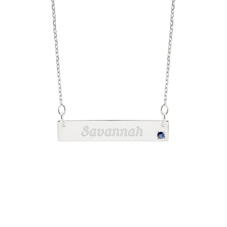 Genuine Birthstone Silver Name Bar Necklace