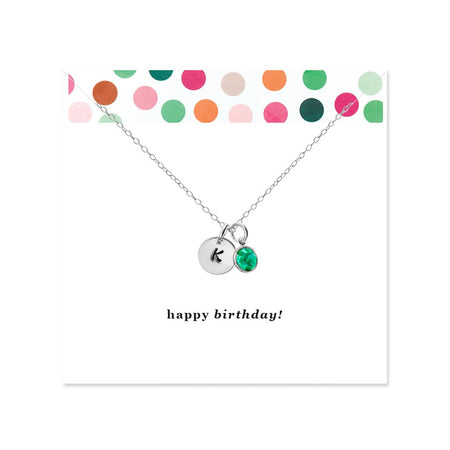 Happy Birthday Silver Hand Stamped Initial Birthstone Necklace