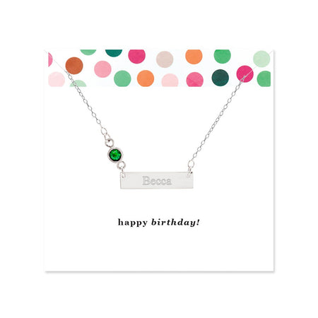 Happy Birthday Birthstone Silver Name Bar Necklace
