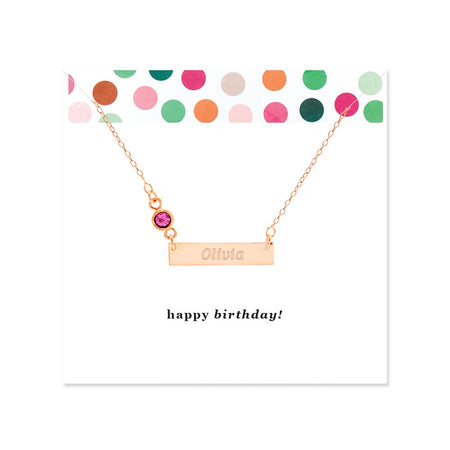 Happy Birthday Birthstone Rose Gold Name Bar Necklace