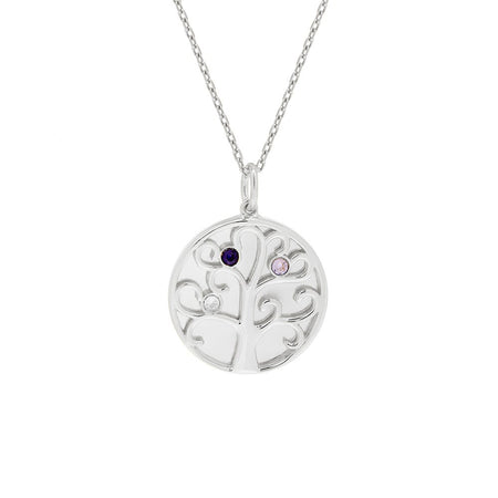 3 Stone Birthstone Engravable Family Tree Silver Necklace