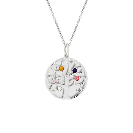 display slide 1 of 4 - 5 Birthstone Engravable Family Tree Silver Necklace - selected slide