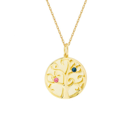 display slide 1 of 4 - 2 Stone Birthstone Engravable Family Tree Gold Necklace - selected slide