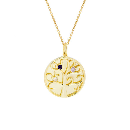display slide 1 of 4 - 3 Stone Birthstone Family Tree Gold Necklace - selected slide