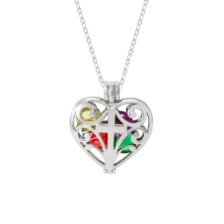 Filigree Cross Silver Birthstone Heart Locket