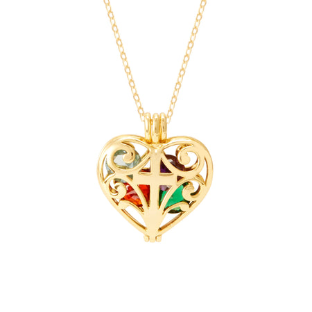 Cross Gold Birthstone Heart Floating Locket