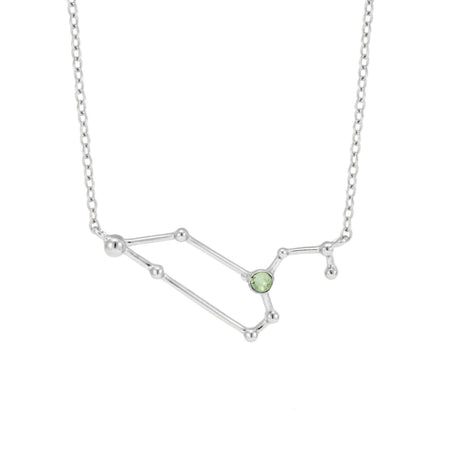 Leo Birthstone Silver Constellation Necklace