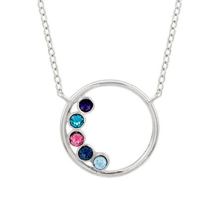 5 Birthstone Silver Circle Mother's Necklace