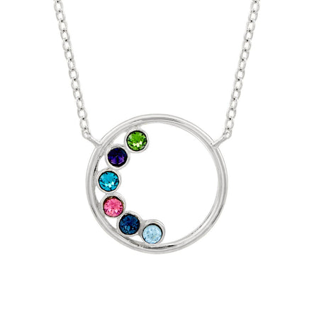 6 Stone Silver Circle Mother's Birthstone Necklace
