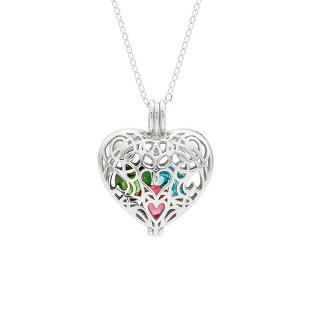 display slide 1 of 4 - Filigree Heart Silver Birthstone Locket - selected slide
