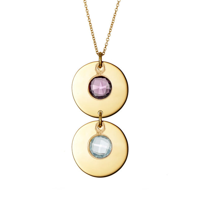Two Birthstone Mother's Gold Dangling Disc Necklace