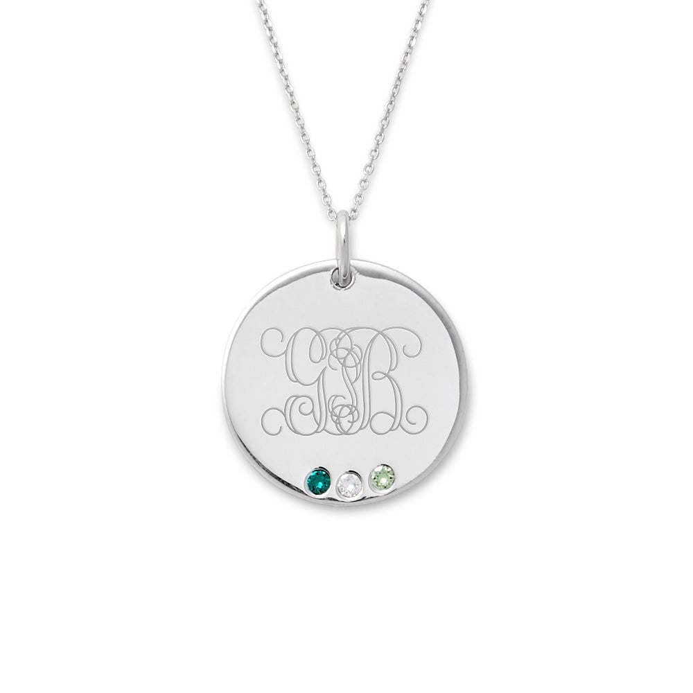 Anniversary Gift Birthday Gift Christmas Gift Personalized Engravable Sterling Silver Name /& Birthstone Oval Pendant Mother/'s Day Gift