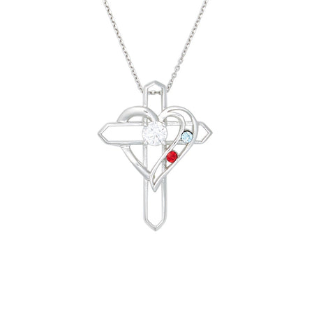 Silver 2 Birthstone Heart and Cross Necklace