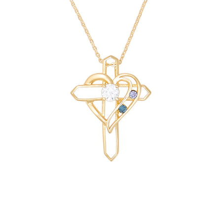 Gold Two Birthstone Heart and Cross Necklace