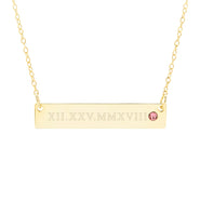 Roman Numeral Gold Birthstone Bar Necklace