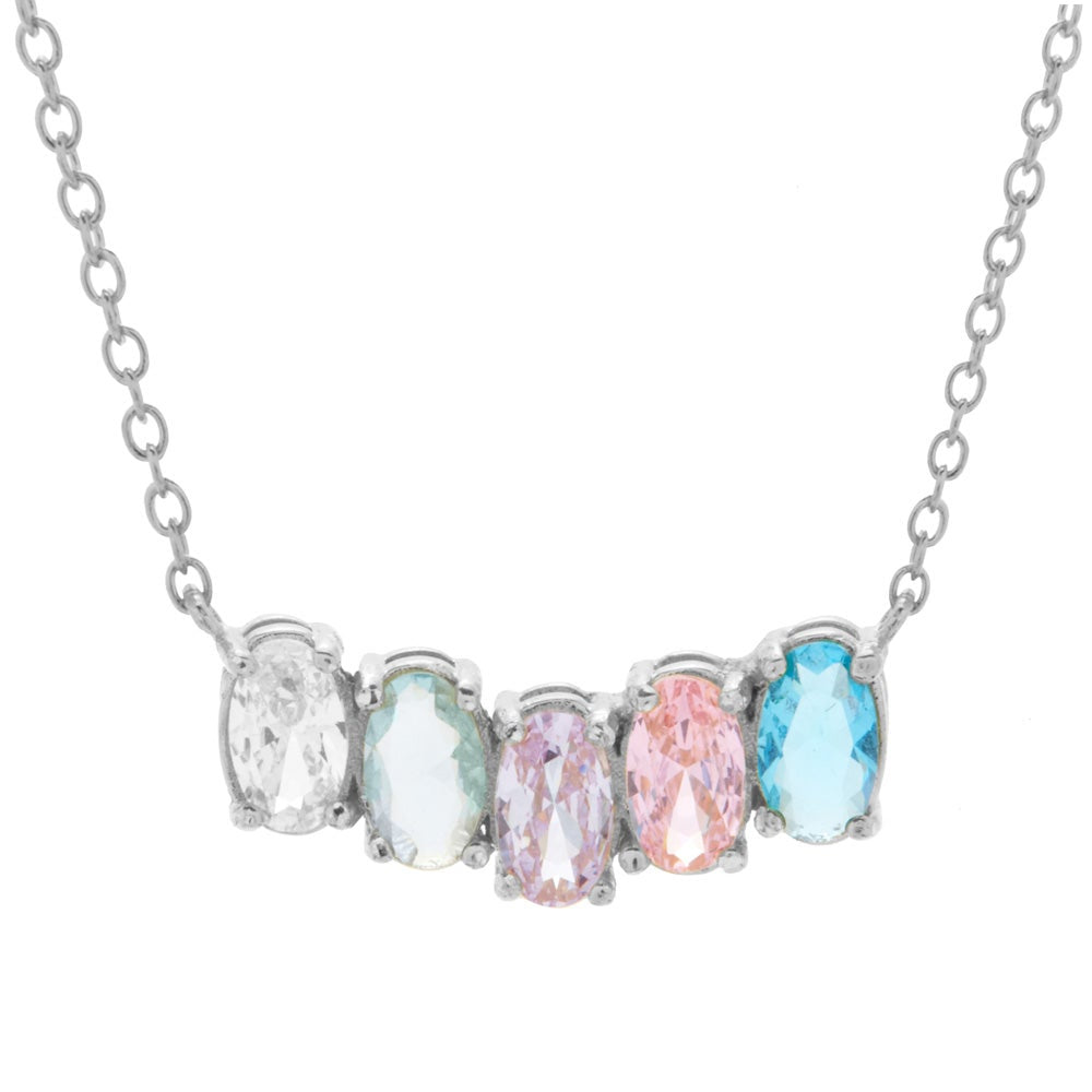 18-Inch Rhodium Plated Necklace with 4mm Aqua Birthstone Beads and Sterling Silver Graduation Heart Charm.