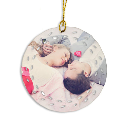 Open Wreath Design Porcelain Photo Ornament