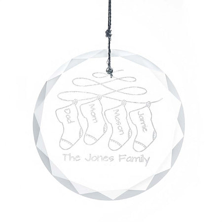 Personalized Family Stockings Round Glass Ornament