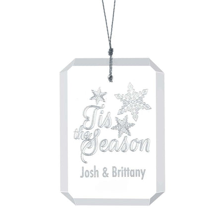 Engravable Tis the Season Rectangle Glass Ornament