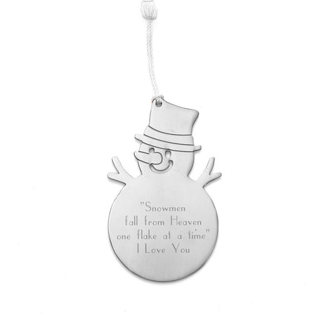 Engravable Snowman Metal Ornament
