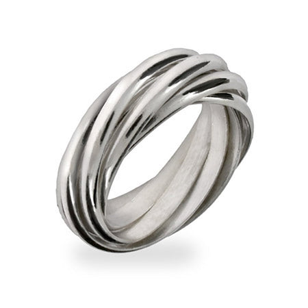 Seven Band Sterling Silver Rolling Ring