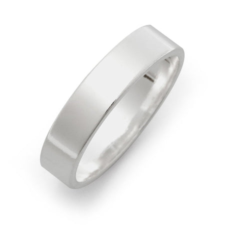 display slide 1 of 2 - 5mm Sterling Silver Flat Wedding Band - selected slide