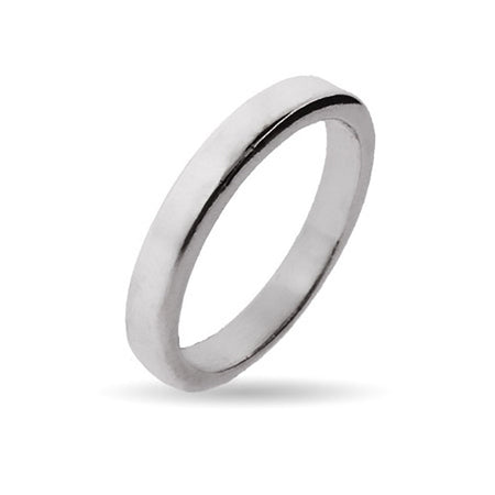 display slide 1 of 1 - 3mm Sterling Silver Flat Wedding Band - selected slide