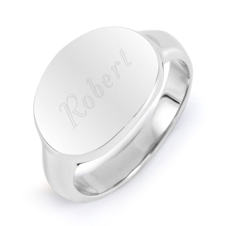 Designer Style Stainless Steel Engraved Signet Ring