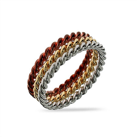 Three Tone Sterling Silver Cable Ring Set