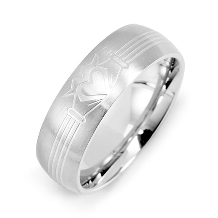 display slide 1 of 2 - Men's Stainless Steel Claddagh Message Band - selected slide