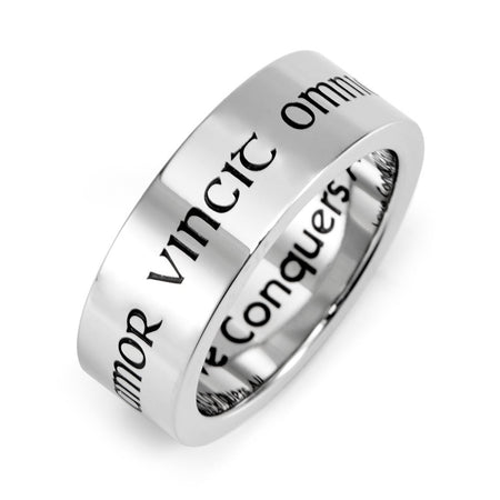 Stainless Steel Love Conquers All Posey Ring