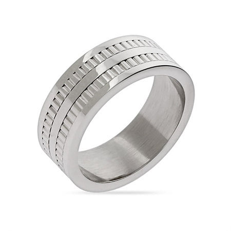 display slide 1 of 1 - Engravable Men's Double Row Tread Ring  - selected slide