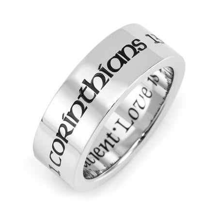 display slide 1 of 2 - Love Is Patient Love Is Kind Stainless Steel Purity Ring - selected slide