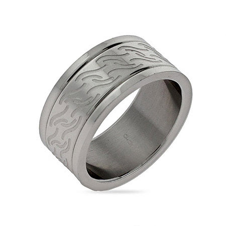 Men's Wave Design Engravable Stainless Steel Band