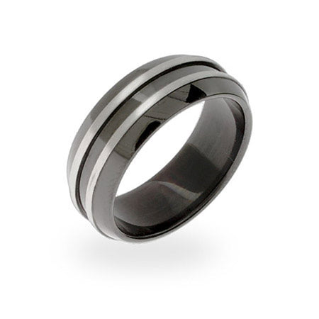 Men's Black Plate Double Steel Row Message Band