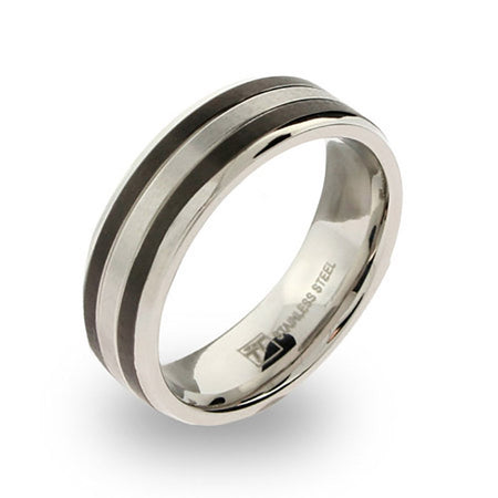 Mens Stainless Steel band with Black Inlay