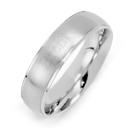Engravable Men's 6mm Raised Stainless Steel Band