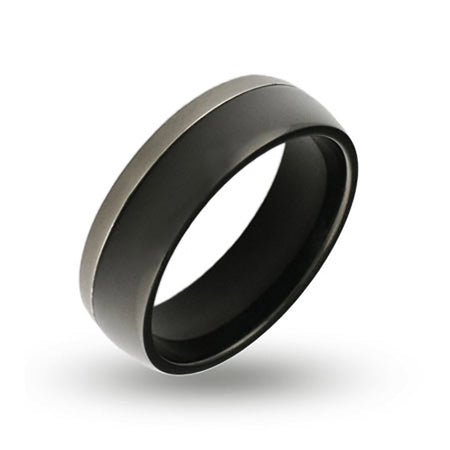 Mens Silver Trim Black Plate Engraved Band