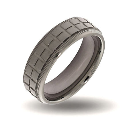 Mens Crosshatch Design Steel Engravable Band