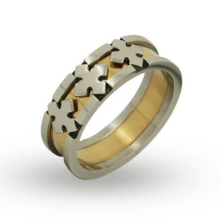 Steel and Gold Plated Triple Cross Engravable Band