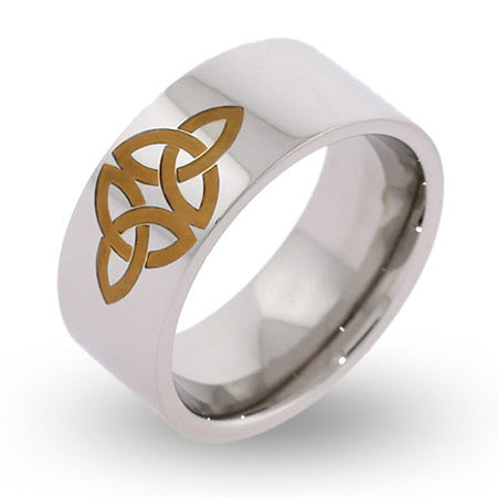 display slide 1 of 1 - Engravable Gold Celtic Knot Message Ring - selected slide