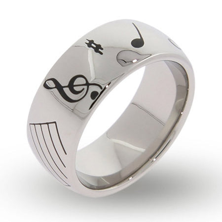 Musical Notes Engraved Message Band